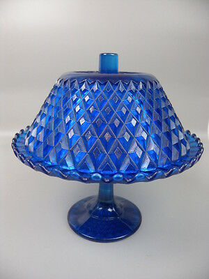 Vintage Diamond Cut Glass Cake Stand With Lid Blue Tableware Serving Piece 1950s