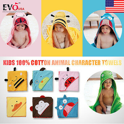 Cute Kids 100% Cotton Animal Character Towels