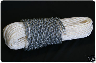8mm x 60Mtr Nylon Rope + 6Mtr Chain - Drum Anchor Winch Rope