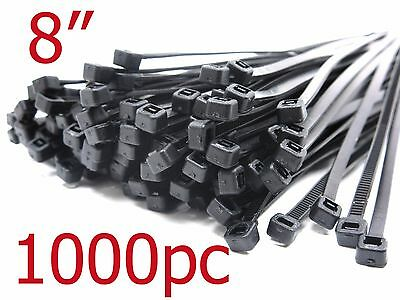 """1000 PCS Pack 8""""  Network Cable Cord Wire BLACK Tie Strap 60 lbs Zip Nylon"""