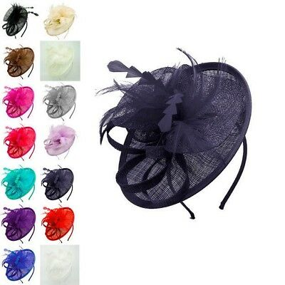Ladies Women Sinamay Feather Wedding Race Headband Clip Flower Hat Fascinator UK