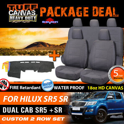 TUFF HD Canvas Seat Covers + Dash Mat Suits Toyota Hilux Dual Cab SR5 03/2005-15
