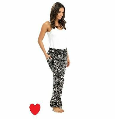 Ladies Girls Fashion Trousers Print Lightweight Holiday Black White