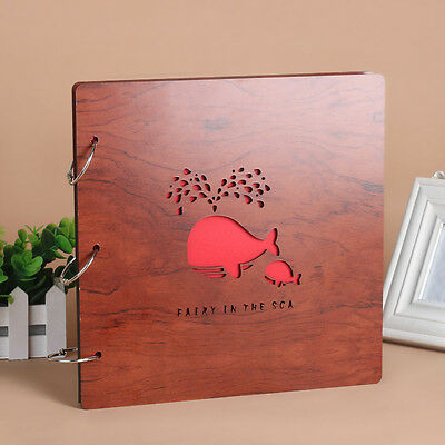 DIY 30Pages 26.9 x 26.4cm Wood Cover 3Rings Photo Album Wedding Scrapbook WHALE