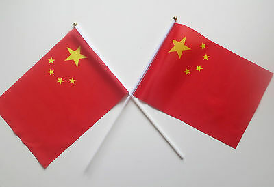 2 China Chinese New Year Waving Flags Summer Olympic Games Sports Events NEW