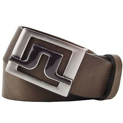 "J Lindeberg Slater Brown Leather Belt with Tonal Coloured JL - 95cm 34"" Large"