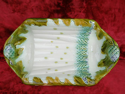 Antique French Majolica/Barbotine Asparagus Artichoke Serving platter / Salins