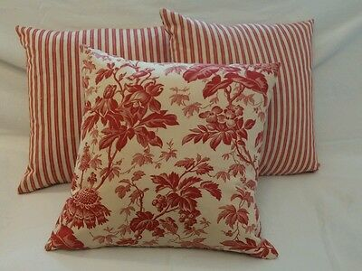 Antique French Ticking & toile Decorative Pillow (1) three available