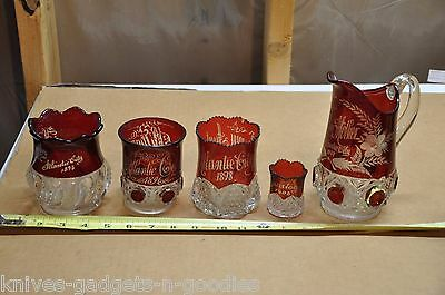 ATLANTIC City Red Clear Cut FLASH GLASS Souviners 1893-1903
