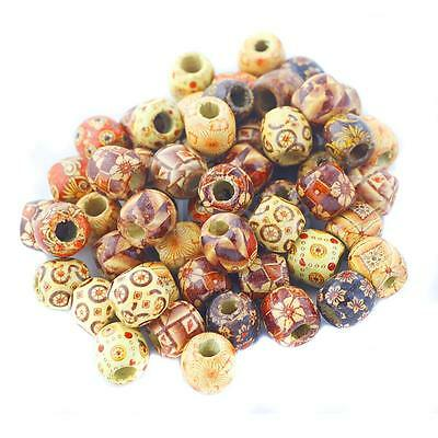 100x 17mm Mixed Round Wooden Beads for Jewelry Making Loose Spacer Charms