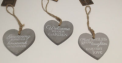 Stone Garden Plaque Heart Shaped Hanging  Sign With Phrase Various Designs New