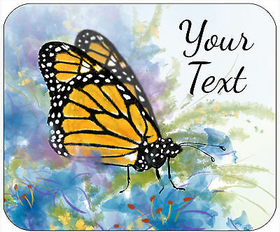 Mouse Pad Custom Thick Mousepad-Butterfly With Flowers 4 Colors-Add Text Free