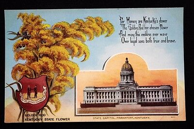c.1910 Old Vintage Kentucky State Card Postcard with Capitol, Flower & Poem