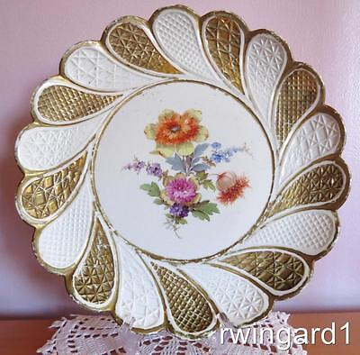 """19th CENTURY ANTIQUE MEISSEN HAND PAINTED FLORAL GOLD GILT CABINET PLATE 11"""""""