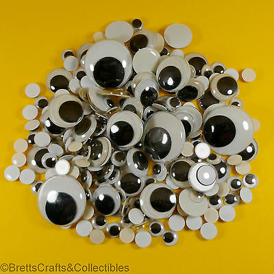 Wiggly Wobbly Googly Round Moving Eyes Glue on - 7mm / 8mm / 15mm / 18mm or 25mm