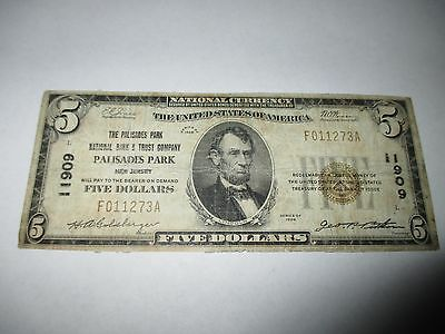 $5 1929 Palisades Park New Jersey NJ National Currency Bank Note Bill #11909