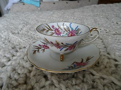 Ucago tea cup and saucer footed china gold trim Flowers (1)