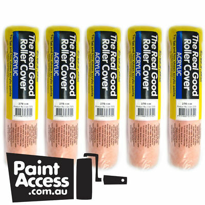 "Pack of 5 Uni-Pro ""The Real Good"" Acrylic Paint Roller Cover 270 mm, 10mm nap"