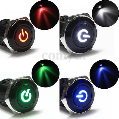 New 12V Black Aluminum Metal Switch LED Push Button Latching Momentary Car 16mm