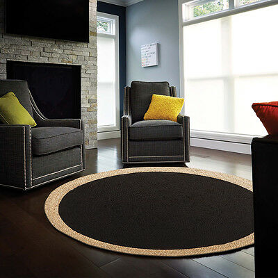 New Jute Natural Black Rugs Dining Network Flatweave Hand Woven Multi dimension