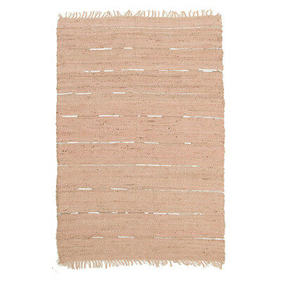 New Saville Jute and Leather Nude Pink Rugs Network Hand Woven Multi dimension