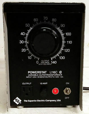 Superior Electric Co. Powerstat L116C 0-140V Variable Autotransformer