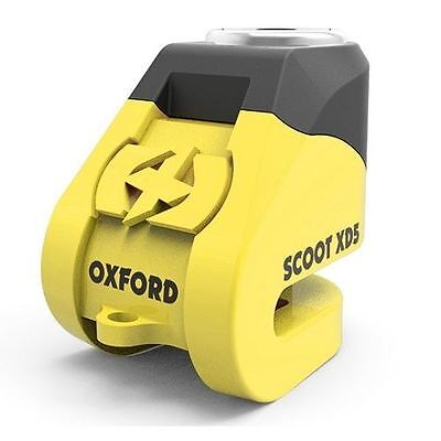 Oxford Scoot XD5 Scooter Brake Disc Lock 5mm Pin Vespa Motorcycle Black Yellow