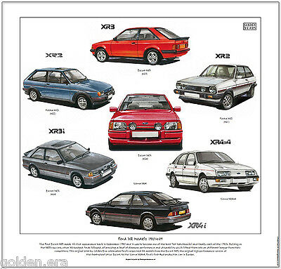 FORD XR MODELS 1980 to 89 - Fine Art Print - Escort XR3i Sierra XR4i Fiesta XR2i