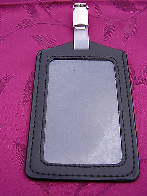 Genuine Leather ID Pass Card/Badge Holder+Belt Clip,Police/SO19/Security/SIA -PS