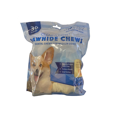 Clenz-A-Dent Rawhide Chews for Medium Dogs-11-25 lbs - 30 Chews