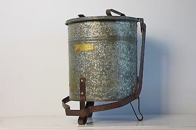 Vintage antique Industrial oily cloth can steel