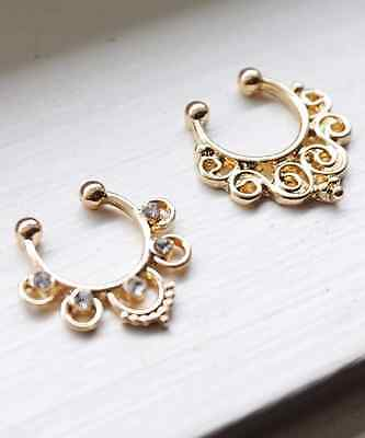 Silver or Gold Tone Tribal Swirl Ethnic Design Fake Septum Faux Septum Nose Ring