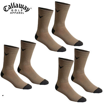 Callaway Golf Mens Tour Tech Crew Socks 3 Pair Bundle - Brown - New