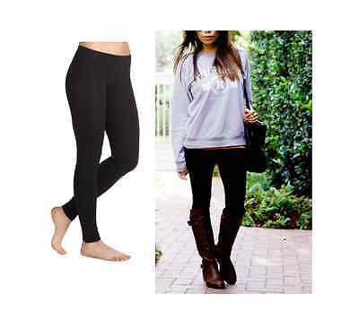 Women's Basic Cotton Full Length Black Leggings Spandex Pants Size S-XL