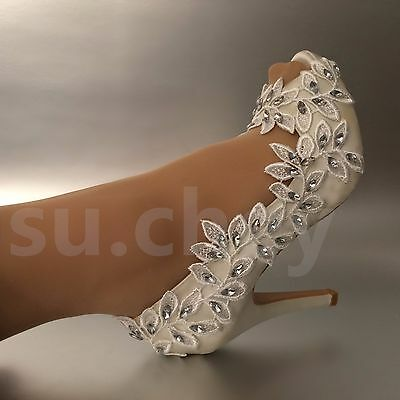 """3""""4"""" heel satin white ivory lace Olive branch open toe Wedding shoes bride size"""