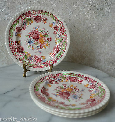 Johnson Brothers WINCHESTER PINK (ROPE EDGE)  - SET of 4 Bread Dessert PLATES 6""
