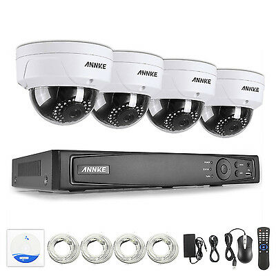 ANNKE Full HD 1080P 4CH NVR IP Network PoE Outdoor CCTV Security Camera System