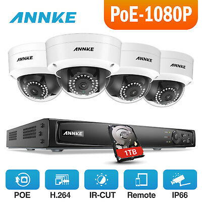 ANNKE HD 1080P 4CH NVR PoE IP Network Outdoor WDR Security Camera System 1TB