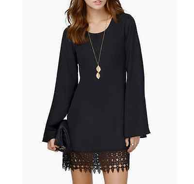 Summer Short Mini Casual Evening Party Long Sleeve Cocktail Women Lace Dress New
