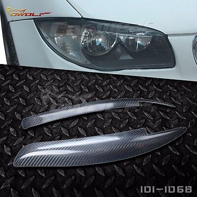 Carbon Fiber Eyebrow Eyelid Headlight Cover For Bmw E81 E82 E87 E88 2004 2010 B#