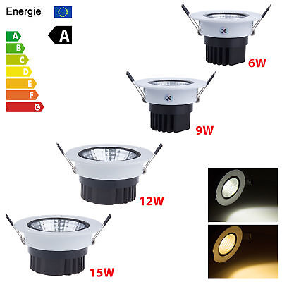 Dimmable COB LED Recessed Ceiling Downlight 6W 9W 12W 15W Spot Light Bulb Kits