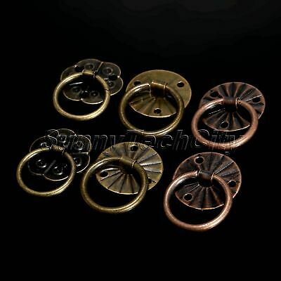 12Pcs Antique Brass Cabinet Drawer Drop Ring Pull Handle Jewelry Box Decoration