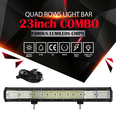 """23""""inch 2256W PHILIPS Combo QUAD Rows LED Work Light Bar SUV UTE ATV 20"""" + Wire"""