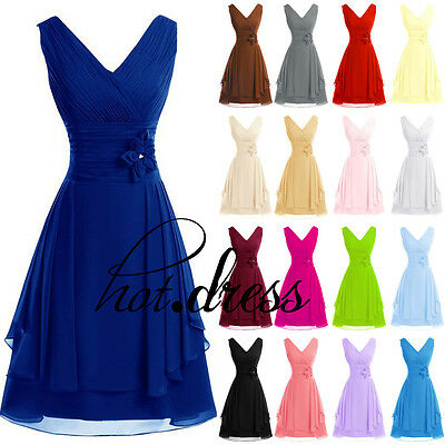 Stock New Chiffon Formal Prom Party Cocktail Gown Evening Short Bridesmaid Dress
