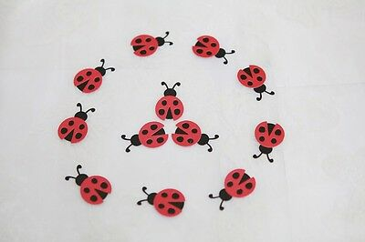 10 Handmade Cute Ladybird Toppers ideal for scrapbooking and embellishments