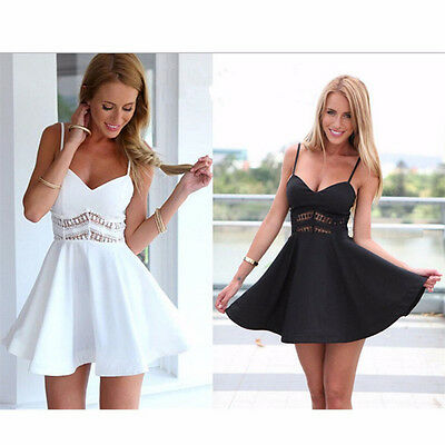 Sexy Women Sleeveless Casual Summer Evening Cocktail Party Lace Mini Dress Lady