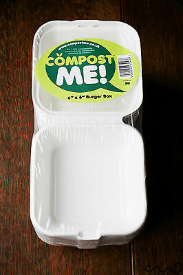 """50 x Compost Me Burger Box 6"""" x 6"""" VAT  Camping Eco Portable Packaging Takeaway"""