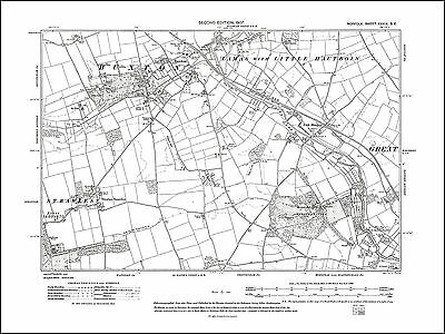 Old map of Buxton, Stratton Strawless, Lamas, Norfolk in 1907: 39SE repro
