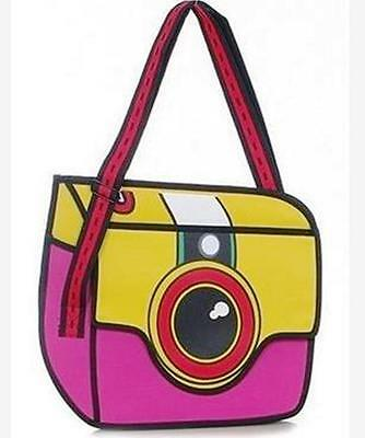 3D Jump Style Bag, Shoulder bag with Animation/Cartoon effect, Retro Camera Pink