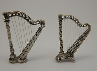 Set Due Arpe Miniature In Argento Two Silver Arp
